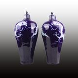霁蓝釉八棱留白龙纹梅瓶